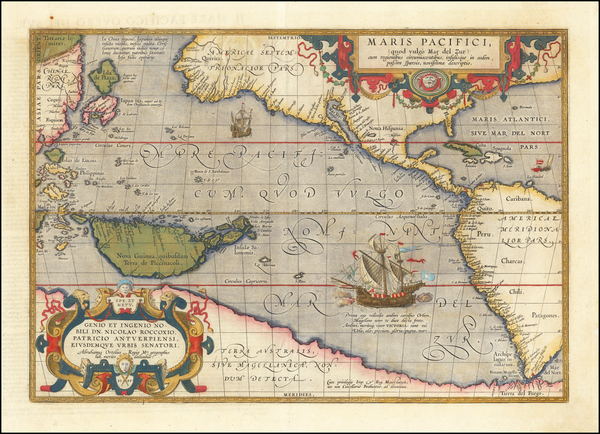 76-Western Hemisphere, Polar Maps, Japan, Pacific, Australia and America Map By Abraham Ortelius