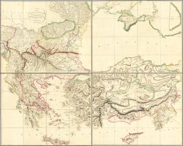 91-Ukraine, Romania, Bulgaria, Greece, Turkey and Turkey & Asia Minor Map By Aaron Arrowsmith