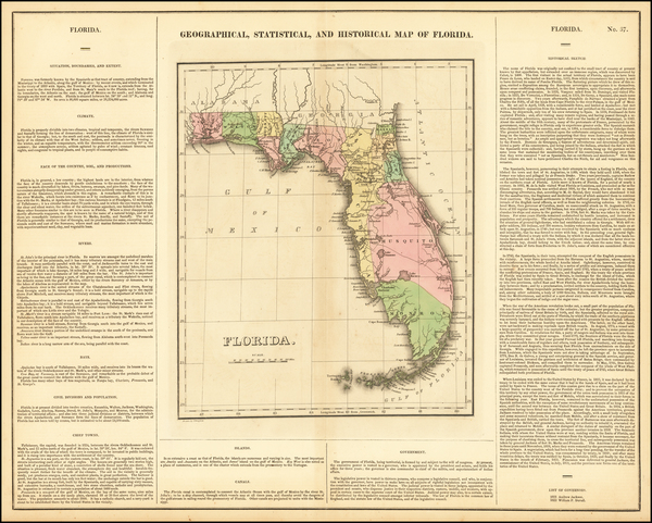 30-Florida Map By Henry Charles Carey  &  Isaac Lea