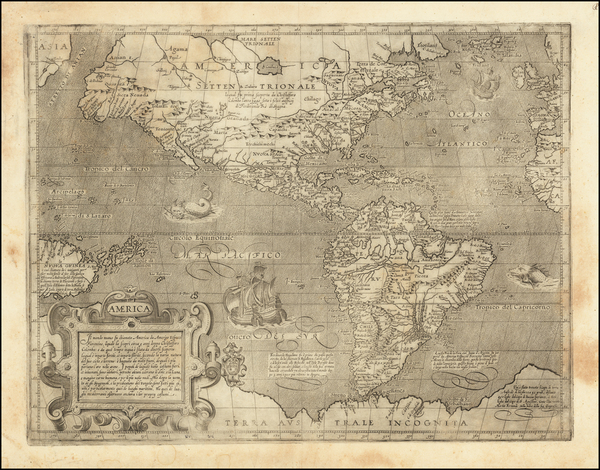 47-Pacific Ocean, North America, South America and America Map By Arnoldo di Arnoldi