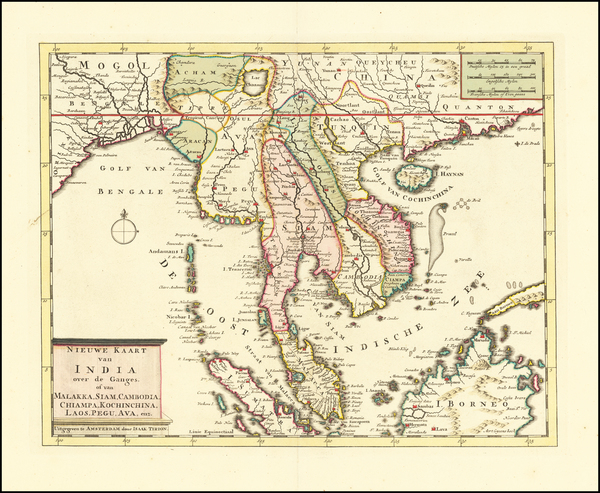 33-India, Southeast Asia, Malaysia and Thailand, Cambodia, Vietnam Map By Isaak Tirion