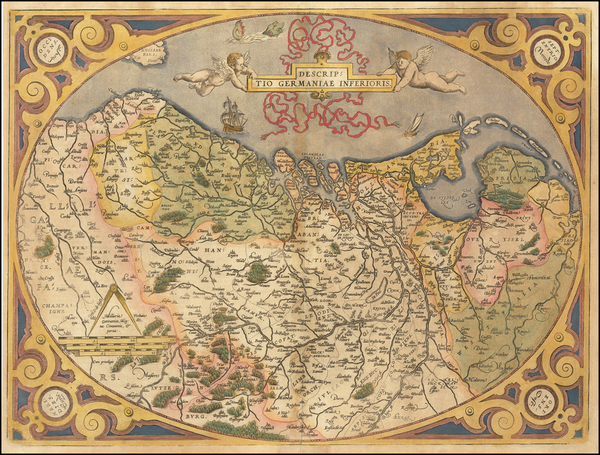 37-Netherlands and Luxembourg Map By Abraham Ortelius