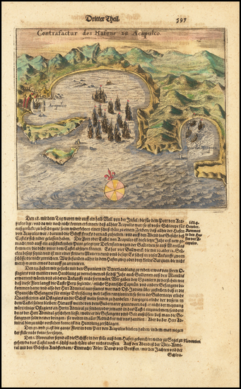 96-Mexico Map By Theodor De Bry / Matthaus Merian