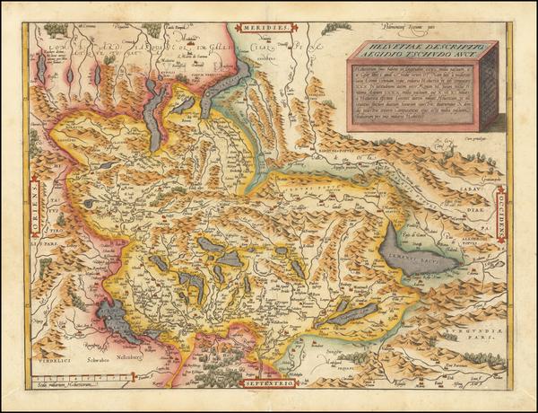 85-Switzerland Map By Abraham Ortelius