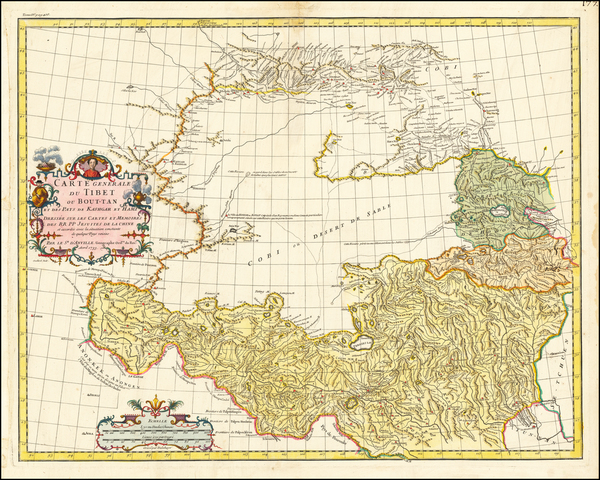 61-China and Central Asia & Caucasus Map By Jean-Baptiste Bourguignon d'Anville