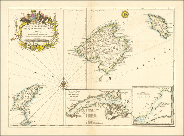 69-Balearic Islands Map By Jacques Nicolas Bellin