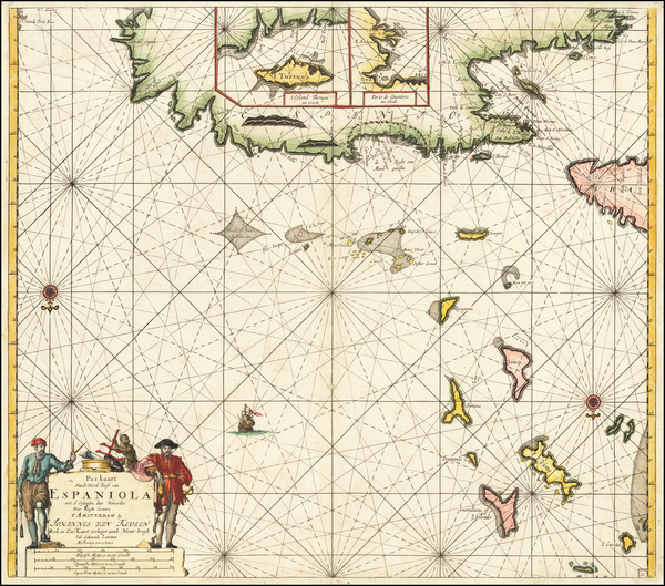 40-Hispaniola and Bahamas Map By Johannes Van Keulen