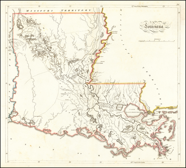 26-Louisiana Map By Mathew Carey