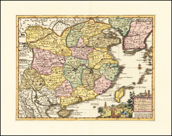 54-China and Korea Map By Pieter van der Aa