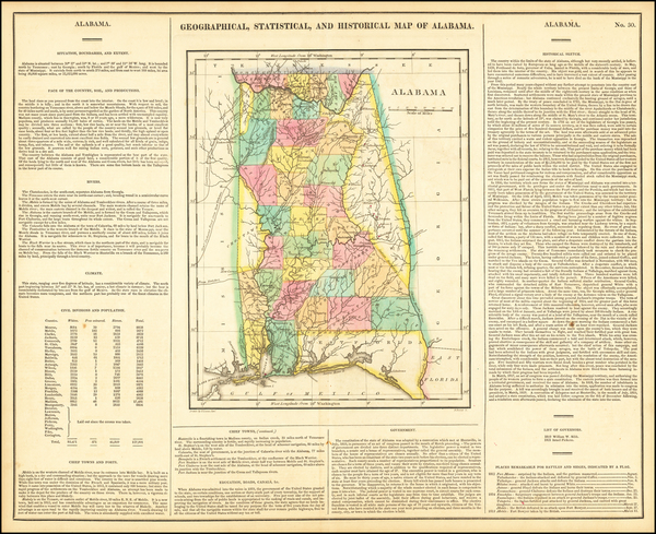 55-South and Alabama Map By Henry Charles Carey  &  Isaac Lea