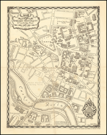 2-Massachusetts and Boston Map By Erwin Raisz