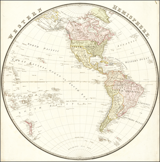 64-Western Hemisphere and America Map By John Wyld
