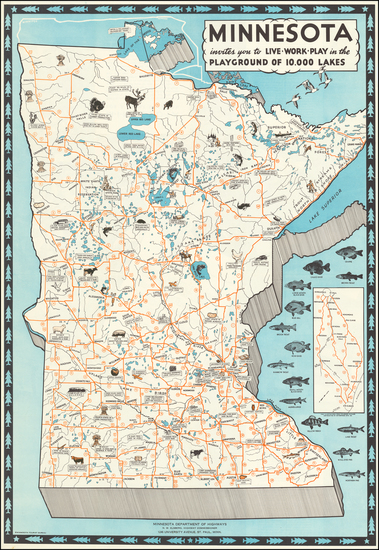 69-Minnesota and Pictorial Maps Map By Minnesota Tourist Bureau