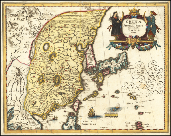 80-China, Japan and Korea Map By Matthaus Merian
