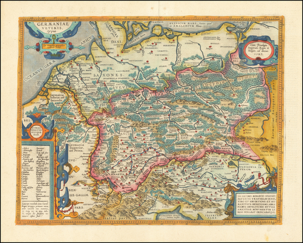 87-France, Germany, Poland and Baltic Countries Map By Abraham Ortelius