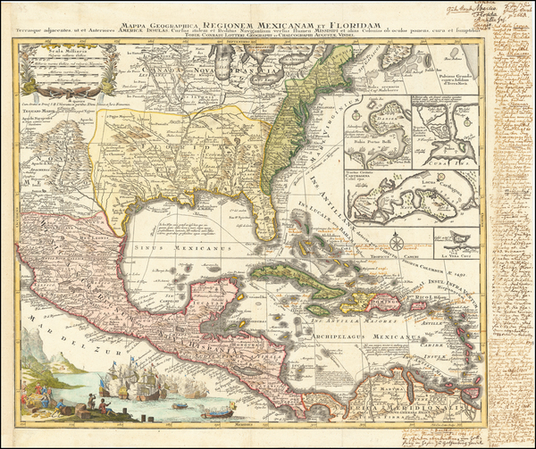 80-United States, South, Southeast and Caribbean Map By Matthaus Seutter
