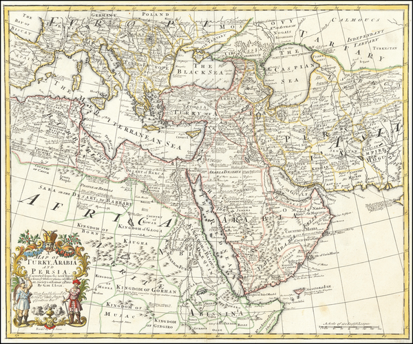 57-Turkey, Middle East, Arabian Peninsula, Persia and Turkey & Asia Minor Map By John Senex