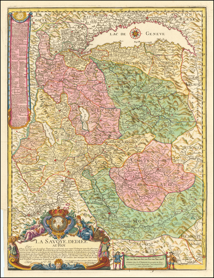 78-Switzerland, France and Northern Italy Map By Alexis-Hubert Jaillot / Le Pere Placide de St. He