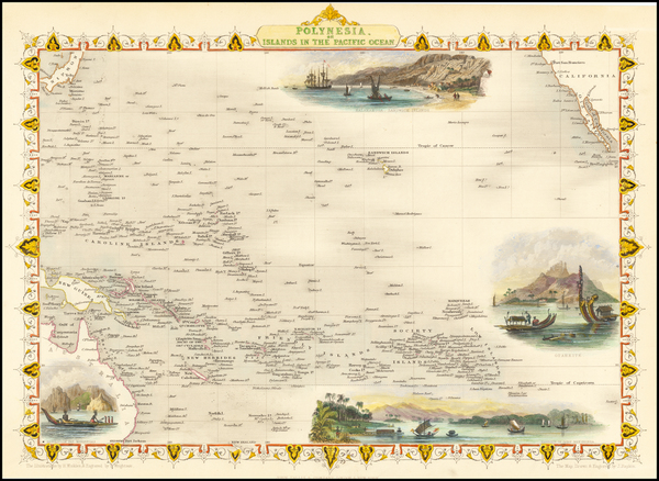 39-Australia & Oceania, Pacific, Oceania, Hawaii and Other Pacific Islands Map By John Tallis