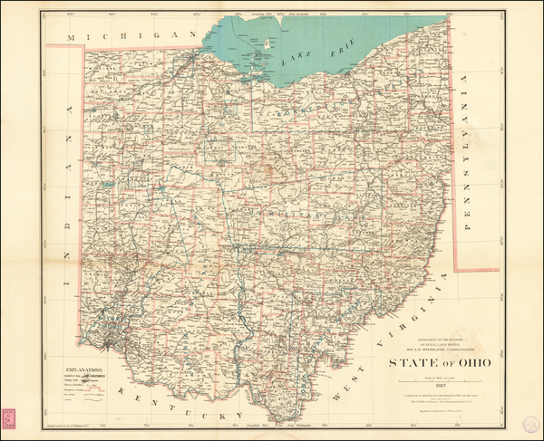 45-Ohio Map By U.S. General Land Office