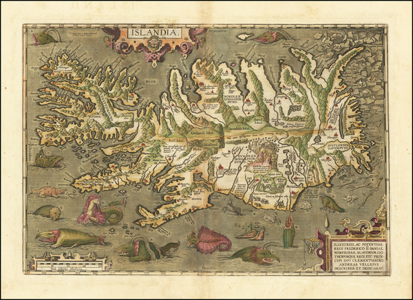 14-Iceland Map By Abraham Ortelius