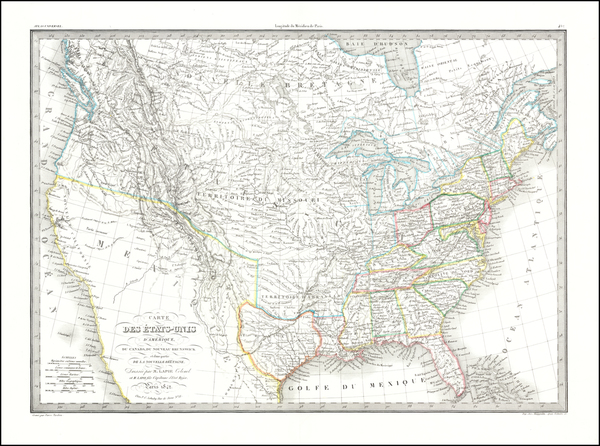 74-United States and Texas Map By Alexandre Emile Lapie
