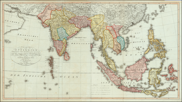 55-India and Southeast Asia Map By Iohann Matthias Christoph Reinecke