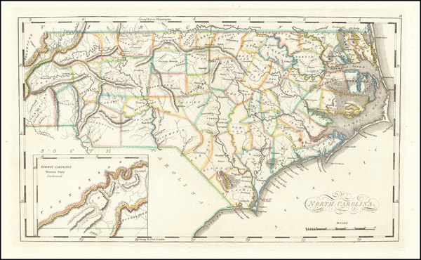 8-North Carolina Map By Mathew Carey