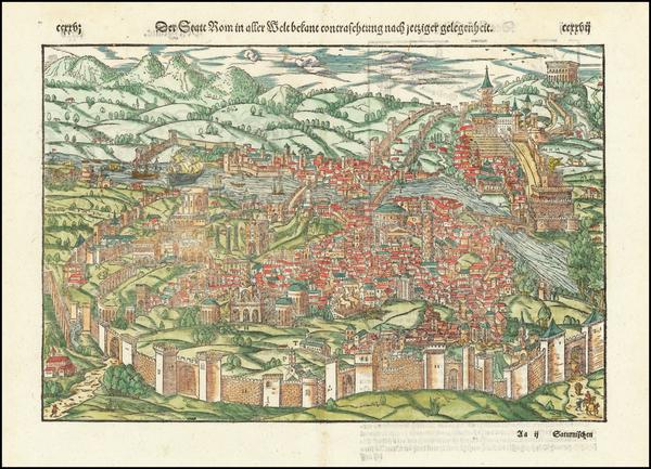 62-Rome Map By Sebastian Munster