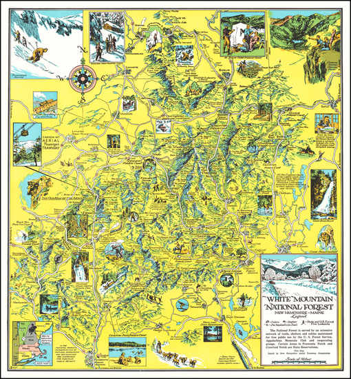11-Maine, New Hampshire and Pictorial Maps Map By New Hamphire Aerial Tramway Commission