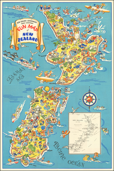 New Zealand Map By New Zealand Government Tourist and Publicity Dept