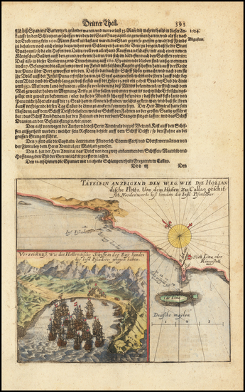 61-Argentina and Chile Map By Theodor De Bry / Matthaus Merian