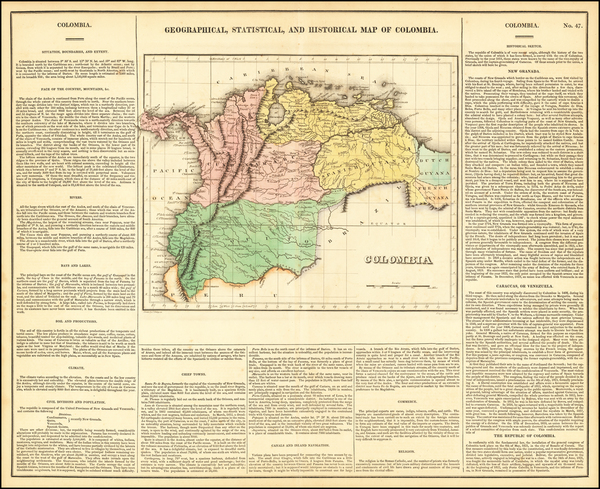 98-Colombia and Venezuela Map By Henry Charles Carey  &  Isaac Lea