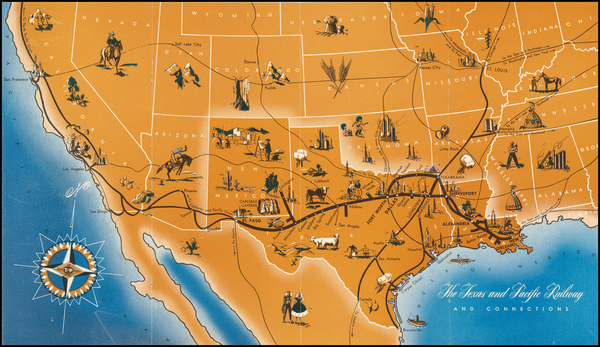 95-Texas, Plains, Southwest, Mexico and Pictorial Maps Map By Anonymous