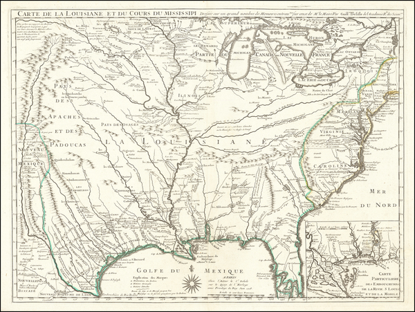 48-South, Southeast, Texas, Midwest, Plains and Southwest Map By Guillaume De L'Isle