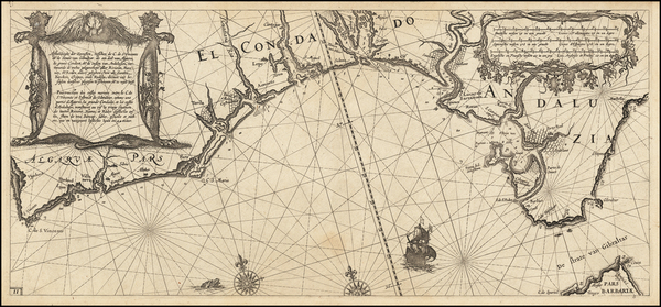 45-Atlantic Ocean and Portugal Map By Willem Janszoon Blaeu
