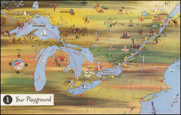 62-Midwest, Michigan, Canada and Eastern Canada Map By Canada Steamship Lines