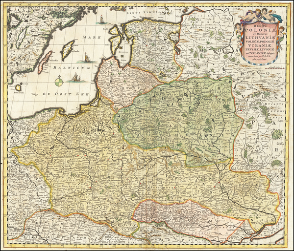 89-Poland, Ukraine and Baltic Countries Map By Frederick De Wit