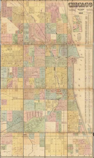 38-Chicago Map By J. Van Vechten  &  Charles Shober