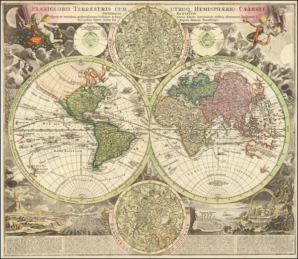 85-World and California as an Island Map By Johann Baptist Homann