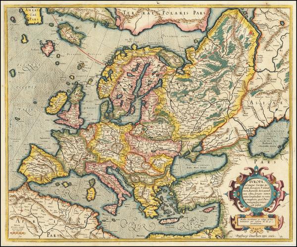 72-Europe Map By Gerhard Mercator