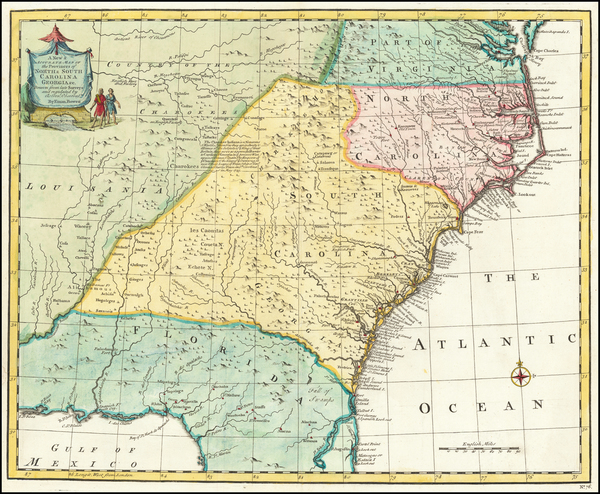 19-South, Southeast, Virginia, Georgia, North Carolina and South Carolina Map By Emanuel Bowen