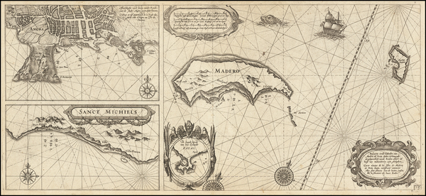 Atlantic Ocean and Portugal Map By Willem Janszoon Blaeu