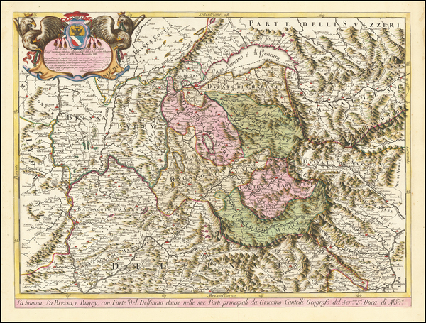 19-Switzerland, France and Northern Italy Map By Giacomo Giovanni Rossi / Giacomo Cantelli da Vign