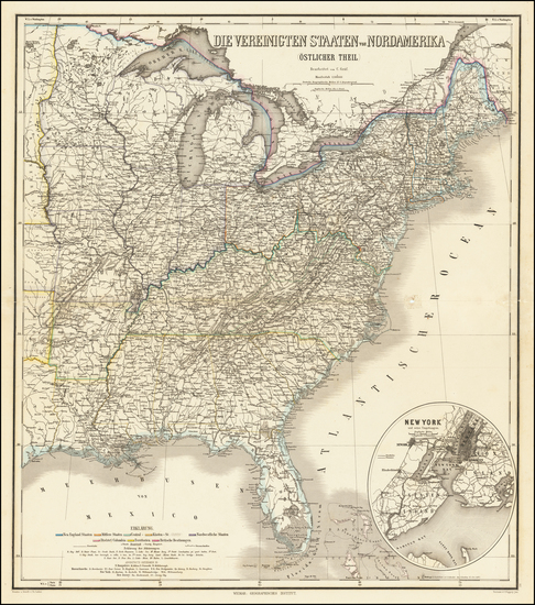 41-United States Map By Heinrich Kiepert / C. Poppey