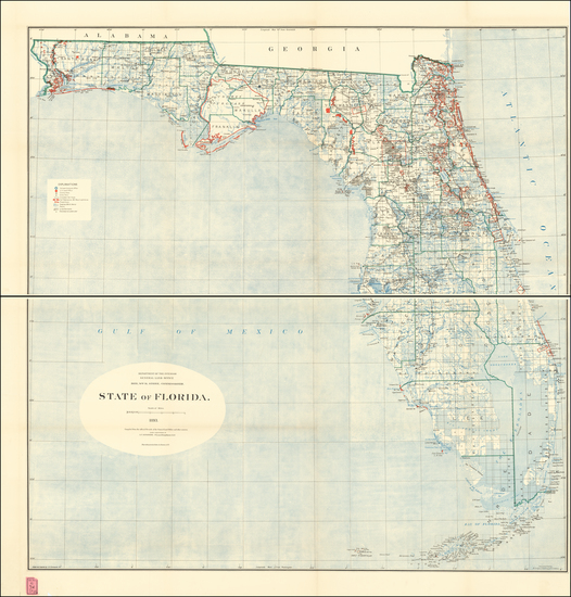 61-Florida Map By General Land Office