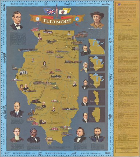 54-Illinois and Pictorial Maps Map By Illinois Sesquicentennial Commission