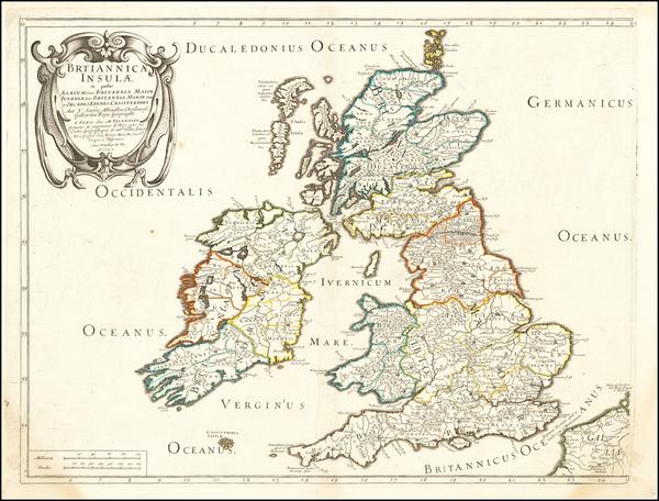18-British Isles Map By Melchior Tavernier / Nicolas Sanson