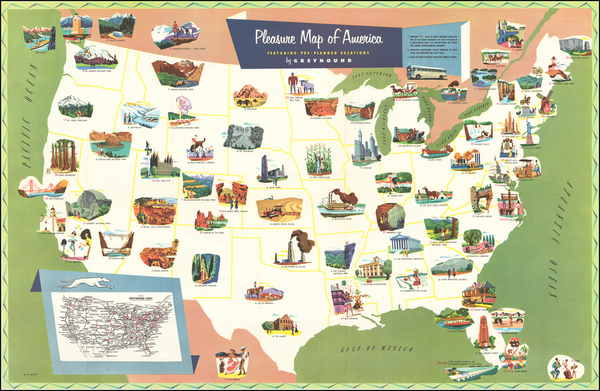 64-United States and Pictorial Maps Map By M. E. Bush