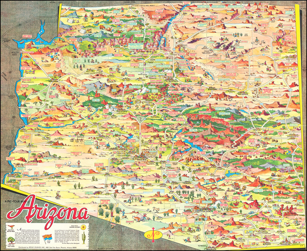 48-Arizona and Pictorial Maps Map By Don Bloodgood